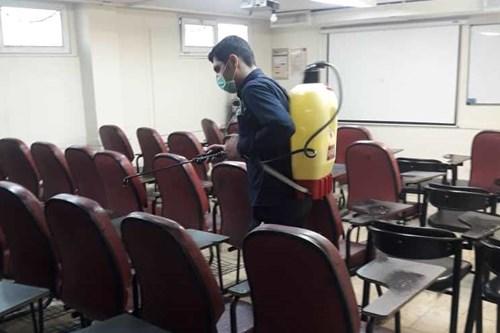 کارشناسان-مرکز-بهداشت-جنوب-تهران-دانشکدههای-دانشگاه-علوم-پزشکی-تهران-را-ضدعفونی-کردند